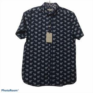 Ted Baker Casual Fun Tiger Print Navy Shirt